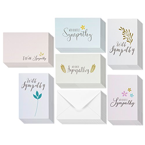48 Pack Sympathy Greeting Cards Bulk Box Set 6 Classy Floral and Foliage Designs with Sentiments, Envelopes Included, 4 x 6 Inches