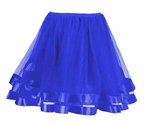Facent Mujer Adultos Cortas Tutu Falda Tul Enaguas para Disfraz Halloween Azul Real
