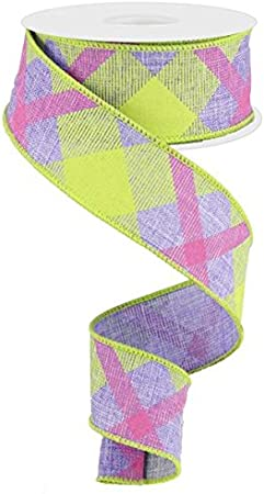 Blue, Lime, Hot Pink, 2.5 10 Yards Plaid Canvas Wired Edge Ribbon