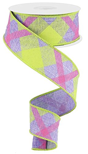 Plaid Canvas Wired Edge Ribbon, 10 Yards (Lavender, Lime, Hot Pink, 1.5