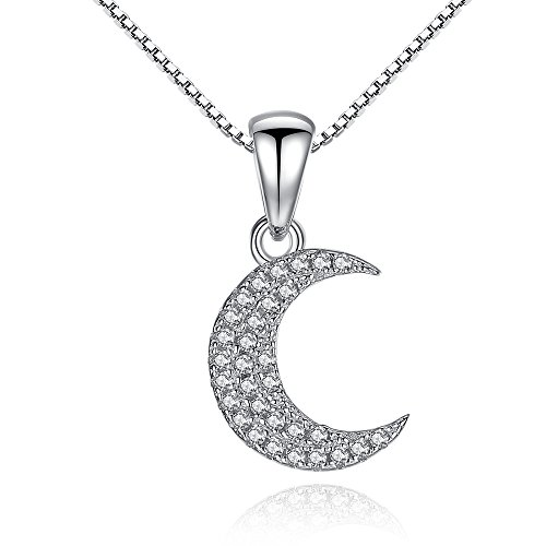 Tow Master Special Trailer (BELAWANG 925 Sterling Silver White CZ Charm Womens Crescent moon Pendant Necklace for Christmas Day Gift)