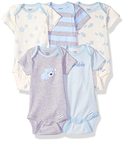 Gerber Baby Boys' 5-Pack Organic Short-Sleeve Onesies Bodysuit, Stripe Bear, Newborn