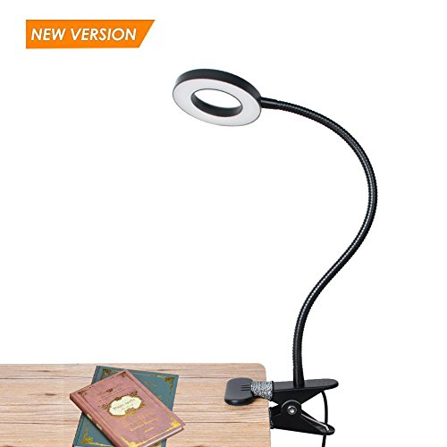 USB Dimmable Clip on LED Reading Light, Metal Clip Laptop Lamp for Book,Bed Headboard,Desk, Eye-care Book Light, 3 Light Color 10 Brightness Switchable, Adapter Included, Black