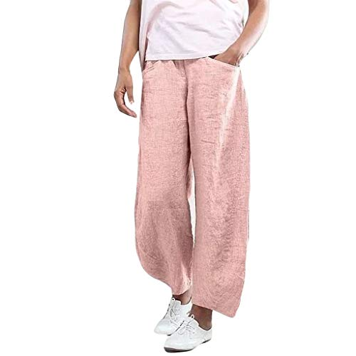 JOFOW Capri Pants for Women Harem Linen Casual Solid Loose High Waist Straight Leg Comfy Elegant Workwear Chic Crop Trousers (S,Pink - Leg Straight Leggings Wool