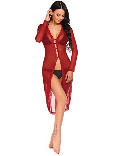 - Avidlove Long Mesh Dress Lingerie Sheer Gown See Through Kimono Robe(Dark red,M)