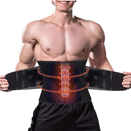 LODAY Back Brace Lumbar Support Belt with Dual Adjustable Support Straps Fast Lower Back Pain Relief (Black, XL) (Lower Back Muscle Strain Vs Herniated Disc)