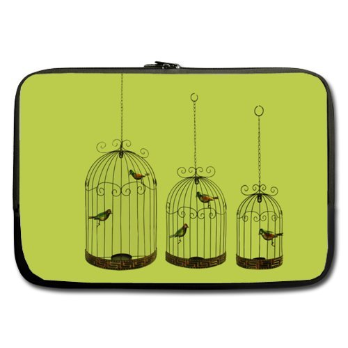 - Cheap And Nice 17 Inch Laptop Sleeve Green Birdcage Size (Double-sided,No Straps)