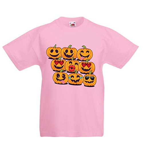 lepni.me Kids T-Shirt Pumpkin Emoji Funny Halloween Party Costume (9-11 Years Pink Multi Color) ()