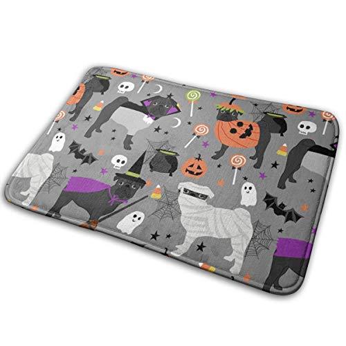 (Doormat Entrance Black Pug Halloween Costume Fabric - Cute Dogs in Costumes Fabric - Light Grey_3209 Indoor/Outdoor 16 x 24 Inch,40 cm x 60)