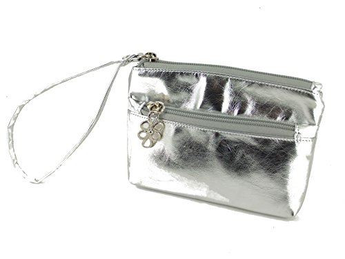 LONI Womens Wristlet Metallic Clutch Bag Silver Purse rqdxrCU