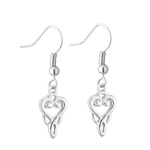 Celtic Kells Knot (Trinity Knot Earrings Drop Rhodium Book of)