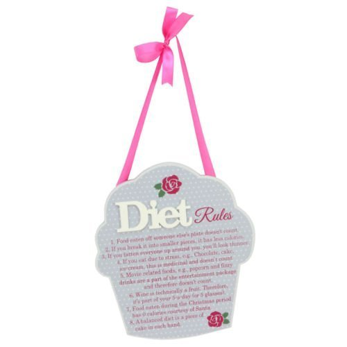 (Hanging Diet Rules Wall Plaque with Pink Ribbon Christmas All Occasion New Home)
