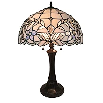 Image of Amora Lighting Tiffany Style Table Lamp Banker Jeweled 23' Tall Stained Glass White Mahogany Elegant Vintage Antique Night Stand Light Décor Living Room Bedroom Handmade Gift AM331TL16 Home Improvements