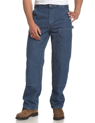 Rodeo Denim Pants - Carhartt Men's Double Front Logger Washed Denim Dungaree,Darkstone,32 x 36