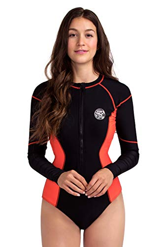AXESEA Womens Long Sleeve Rash Guard UV UPF 50+ Sun Protection Printed Zipper Surfing One Piece Swimsuit Bathing Suit (6, Line Orange) ()
