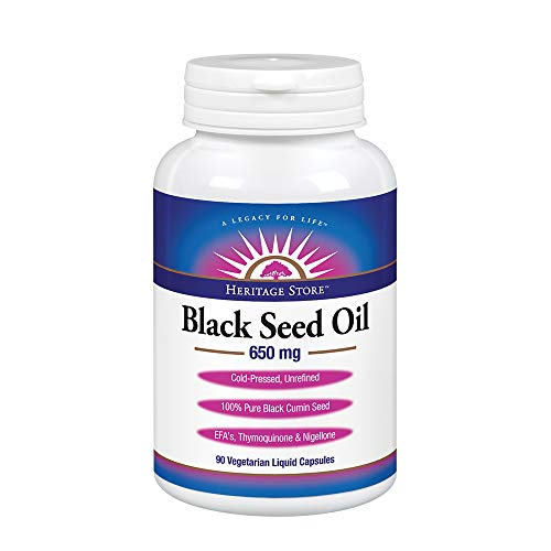 Heritage Store Black Seed Oil | 100% Pure Virgin, Cold Pressed, Unrefined | Supports Skin, Immunity Function & More | 650 mg Vegetarian Capsules, (Best Heritage Black Seed Oil)
