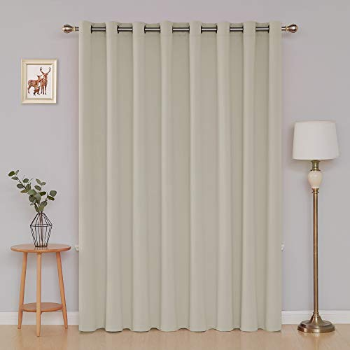 Panel 84l (Deconovo Wide Width with Grommet Curtain Thermal Insulated Blackout Curtain for Bedroom 100W X 84L Inch Light Beige 1 Panel)