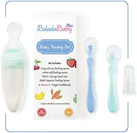 Baby Feeding Set – Baby Weaning Feeding Kit for 6+ Months Infants – Squeeze Bottle Dispenser and 2 Training Spoons Included – Food Grade Silicone Toxin Free – Original Baby Shower Gift