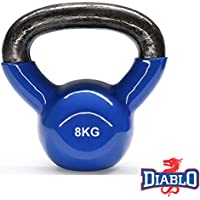 DIABLO Blue Powder Coated Solid Cast Iron Kettlebell Weights (Weight 8KG)