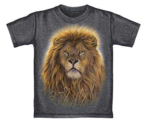 Face Tee Lion - Dawhud Direct Lion Face Adult Tee Shirt (Adult Large) Charcoal