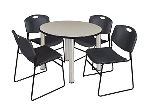 "Kee 36"" Round Breakroom Table- Maple/ Chrome & 4 Zeng Stack Chairs- Black"