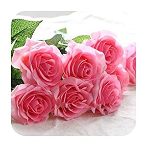 MARJON FlowersArtificial Fowers 10Pcs 11Pcs/Lot Latex Rose Artificial Flowers Real Touch Rose Flowers for Year Home Wedding Decoration Party Birthday Gift,A Pink 1,10Pcs 30