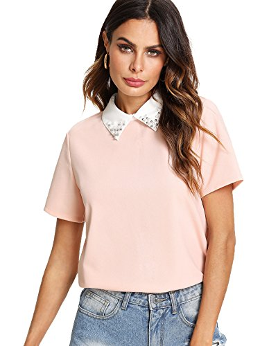 Romwe Women's Cute Contrast Collar Short Sleeve Casual Work Blouse Tops Pink Small