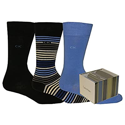 Calvin Klein 3-Pack Multi-Stripe Combed Cotton Men's Socks Gift Box, Blue/Navy