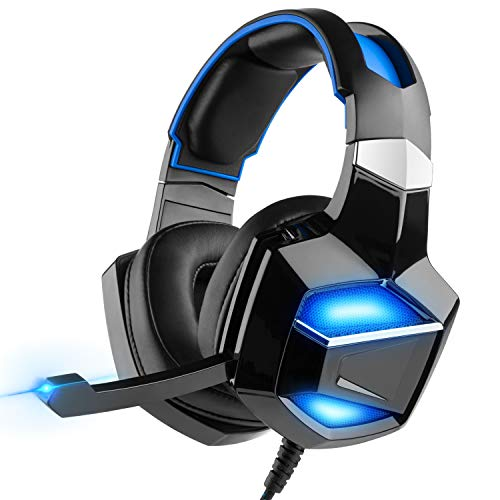 Professional e-Sports Game 7.1 Surround Sound Digital Gaming Headset with Stand, G-Cord Over-Ear LED Headphones with Noise Cancelling Microphone for PS4 PC Laptop, Graphene Composite Membrane