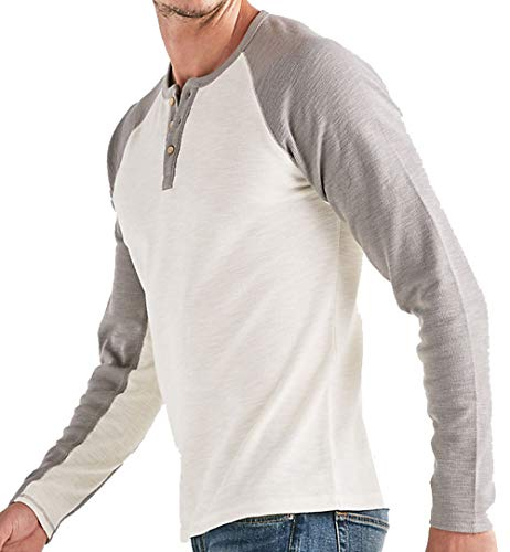 (Lucky Brand Men's Venice Burnout Colorblock Thermal Henley, Marshmallow (XXL))