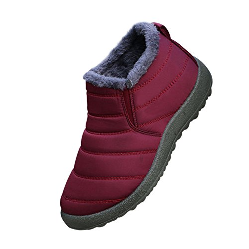Deylaying Women Winter Warm Outdoor Waterproof Fully Fur Lined Ankle Snow Boots Casual Shoes Red gm6Bwo0T7