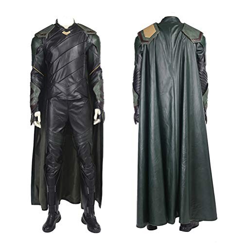 Loki Cosplay Costume Adults Halloween Outfit Set (Ragnarok Black Version) (XXXL)]()