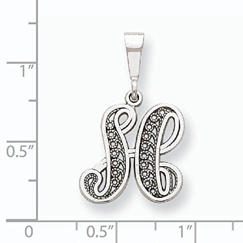Blanc massif 14 carats or poli pendentif initiale H JewelryWeb filigrane