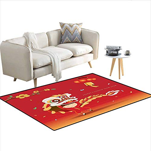 """Carpet,Little Boy Performing Lion Dance with The Costume Flowering Branch Lantern,Indoor Outdoor Rug,Multicolor 36""""x48"""""""