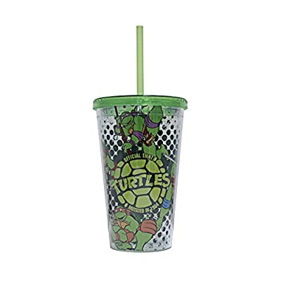 Teenage Mutant Ninja Turtles NT43087 Mutated in 1984 Plastic Cold Cup with Lid and Straw, 16-Ounces, Multicolor