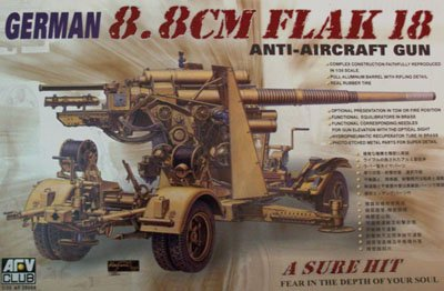 88mm Gun Flak - AFV35088 1:35 AFV Club German 88mm Flak 18 Anti-Aircraft Gun [MODEL BUILDING KIT]