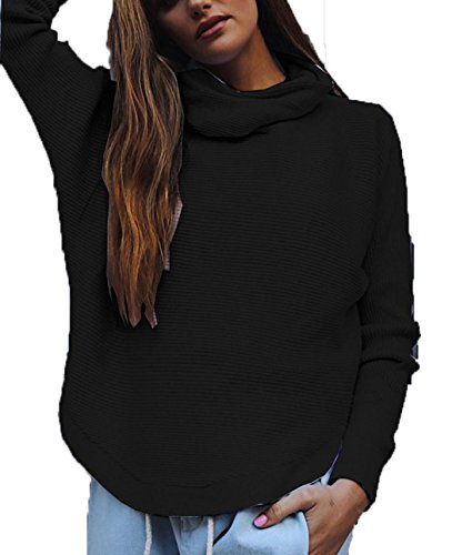 Easther Women Turtleneck Cowl Neck Oversized Long Sleeve Pullover Cute Sweaters for women Black (Loose Fitting Pullover)