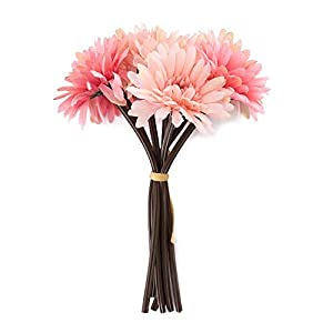"Saideke Home Artificial 11"" Tall Pink Gerbera Daisy Flower Bouquet Home Wedding Decoration 44"