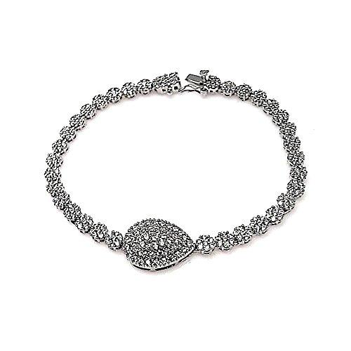 Ensemble de bijoux Loi 925m argent rhodié blanc zircons pierres [AB0861]