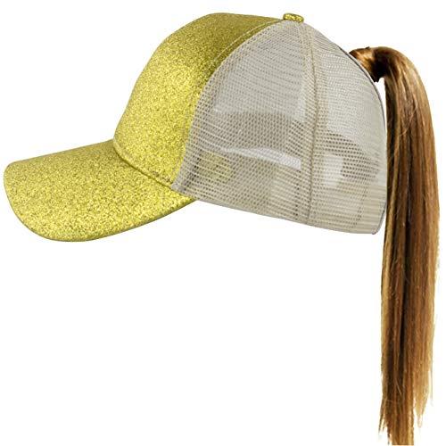 Campus Hat Gold Adjustable - Muryobao Womens Ponytail Baseball Cap Messy High Bun Ponycap Adjustable Snapback Summer Sun Hat Glitter Plain Trucker Dad Hat Mesh Golden