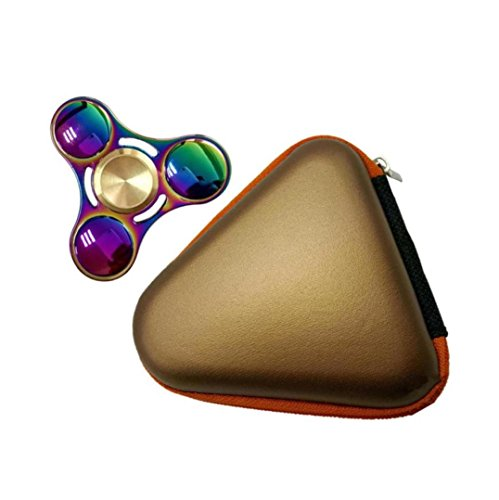 Price comparison product image Mchoice Gift for Fidget Hand Spinner Triangle Finger Toy Focus ADHD Autism Bag Box Carry Case Packet (Gold)