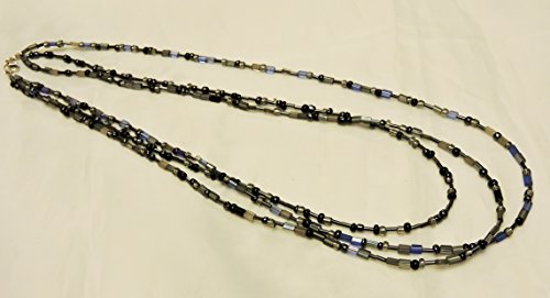 Strand Titanium Necklace - Blue, titanium and silver glass bead multi strand necklace.