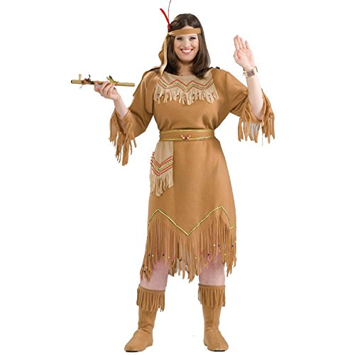 Couples Costumes Plus Size (Forum Novelties Women's Native American Indian Maid Plus Size Costume, Brown, Plus)
