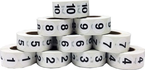 Number Stickers 1 Through 10 Bulk Pack of Adhesive 3/4'' .75 Inch Round Labels - 500 of Each Number