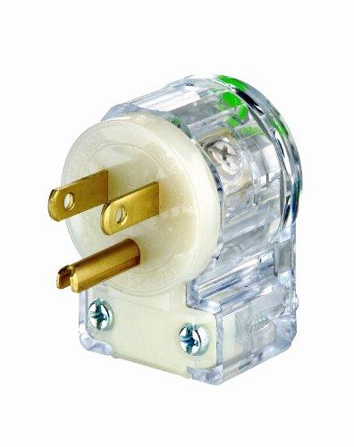Leviton 8215-CAT 15 Amp, 125 Volt, Hospital Grade, Angle Plug, Straight Blade, Grounding, Transparent ()