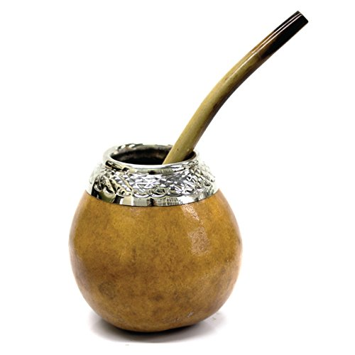 Drinking Yerba Mate - Tealyra - Hand Made - Yerba Mate Gourd and Bamboo Bombilla Straw - Made in Argentina - Traditional Drinking Gourd - Authentic Argentinian Mate Cup (#1607)