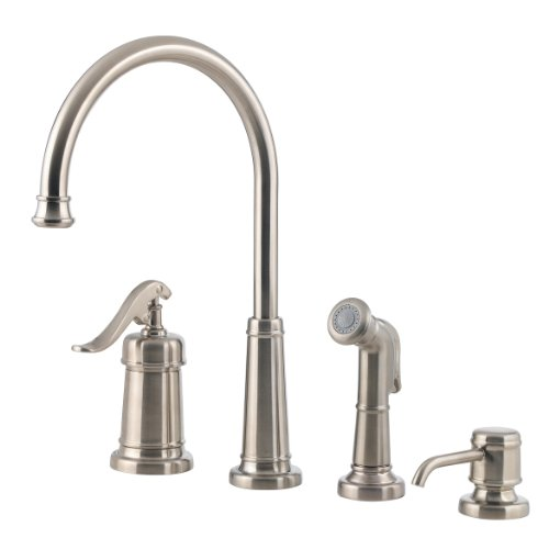Pfister GT26-4YPK GT26-4YPK Ashfield Single Handle Kitchen Faucet with Side Spray and Soap Dispenser, Brushed Nickel