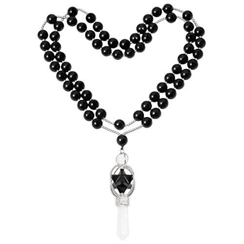 SUNYIK Natural Black Obsidian Spinning Merkaba Star Chakra Pendant Necklace for Women Men, Hexagonal Prisms Stone Point Reiki Healing Crystal Magic Wand, 13.5