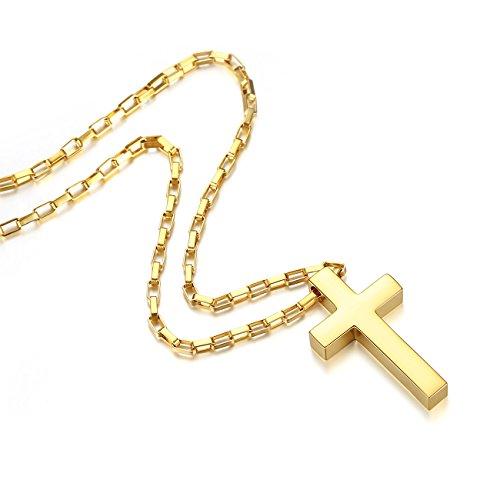 REVEMCN Jewelry Stainless Steel Simple Cross Pendant Necklace fo Men Women, 20-28'' Long Box Chain (Gold Tone: 24'' ()