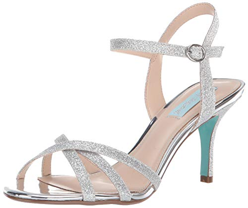 Blue by Betsey Johnson Women's SB-Tyler Heeled Sandal, Silver Glitter, 9.5 M US